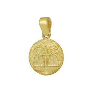 Christian pendant Yellow gold K14 with semiprecious crystals Code 008608