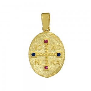 Christian pendant Yellow gold K14 with semiprecious crystals Code 008609