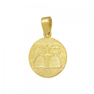 Christian pendant Yellow gold K14 with semiprecious crystal Code 008610