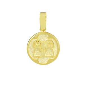 Christian pendant Yellow gold K14 with semiprecious crystals Code 008611
