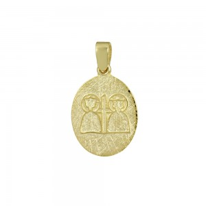 Christian pendant Yellow gold K14 with semiprecious crystal Code 008612
