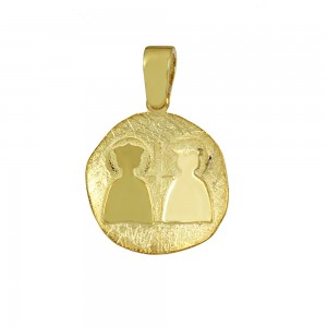 Christian pendant Yellow gold K14 with semiprecious crystals Code 008613