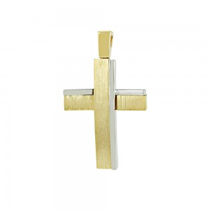 Men's cross Aneli collection Yellow and white gold K14 Code 008634