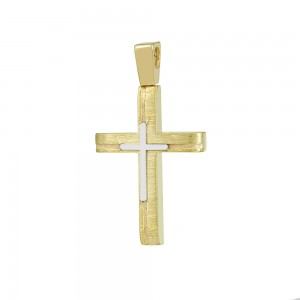 Men's cross Aneli collection Yellow and white gold K14 Code 008637