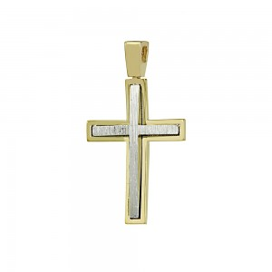 Men's cross Aneli collection Yellow and white gold K14 Code 008638