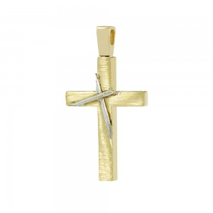 Men's cross Aneli collection Yellow and white gold K14 Code 008639