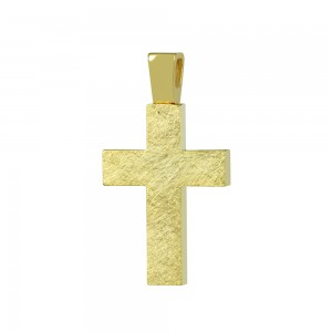 Women's cross Yellow gold K14 with semiprecious crystals Code 008662