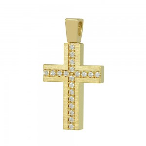 Women's cross Yellow gold K14 with semiprecious crystals Code 008663