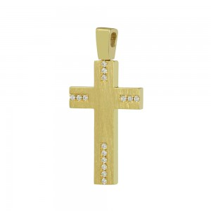 Women's cross Yellow gold K14 with semiprecious crystals Code 008664