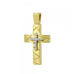 Women's cross Yellow and white gold K14 with semiprecious crystals Code 008666