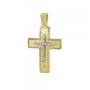 Women's cross Yellow and white gold K14 with semiprecious crystals Code 008669