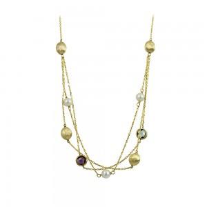 Νecklace Yellow gold K14 with Amethyst, Topaz and pearls Code 008672