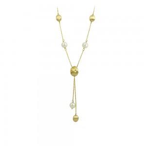 Νecklace Yellow gold K14 with pearls Code 008673