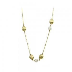 Νecklace Yellow gold K14 with pearls Code 008674
