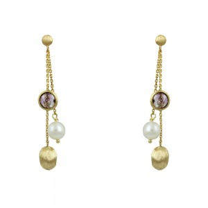 Earrings Yellow gold K14 with Amethyst and pearl Code 008676