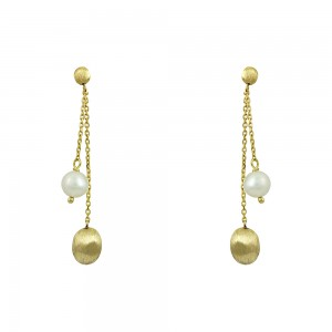 Earrings Yellow gold K14 with pearl Code 008677