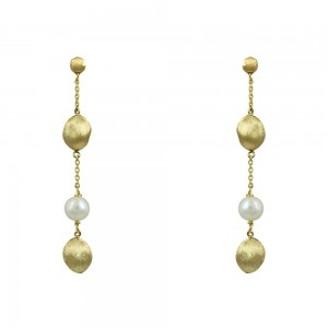 Earrings Yellow gold K14 with pearl Code 008678