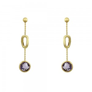 Earrings Yellow gold K14 with Amethyst  Code 008679