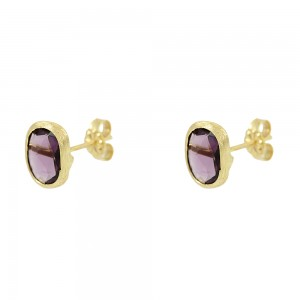 Earrings Yellow gold K14 with Amethyst Code 008680