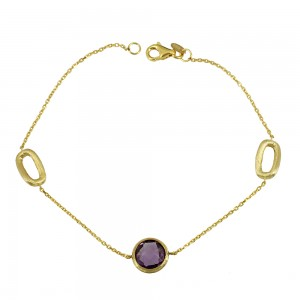 Bracelet yellow gold K14 with Amethyst Code 008681