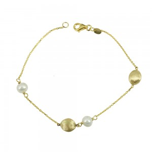 Bracelet Yellow gold K14 with pearls Code 008682