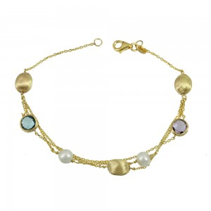 Bracelet Yellow gold K14 with Amethyst, Blue Topaz and pearls Code 008683