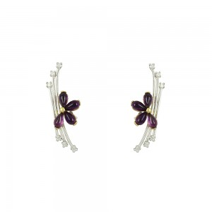 Earrings Whiteand yellow gold K18 with Amethyst and Diamonds Code 002191