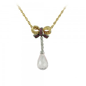 Necklece Yellow gold K18 with Sapphires, Diamonds, Rubies, Quartz  and chain K14 Code 002924