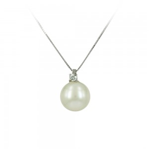 Necklace White gold K18 with pearl and diamond Code 003498