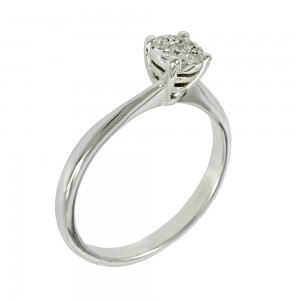 Solitaire ring White gold K18 with diamonds Brilliant cut code 004791