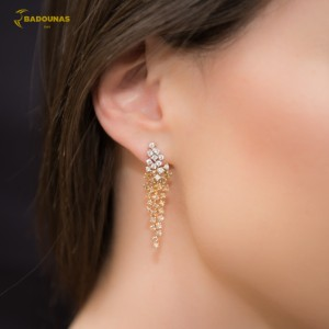 Earrings White, yellow and pink gold K18 with diamonds Code 004920