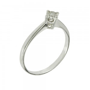 Solitaire ring White gold K18 with diamonds Brilliant cut code 006260