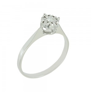 Solitaire ring White gold K18 with diamonds Brilliant cut code 006478