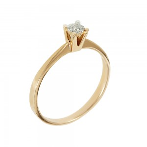 Solitaire ring Pink and white gold K18 with diamond Brilliant cut  Code 006669