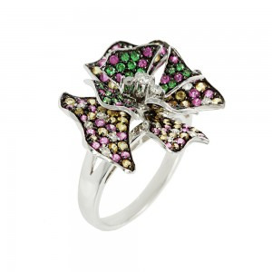 Ring White gold K18 with multi color  Sapphires and Diamonds code 006874