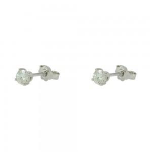 Earrings White gold K18 with Moisanite Brilliant cut Code 007482