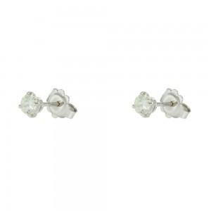 Earrings White gold K18 with Moisanite Brilliant cut Code 007483