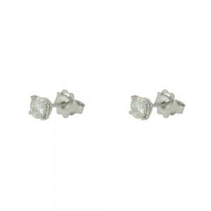 Earrings White gold K18 with Moisanite Brilliant cut Code 007484