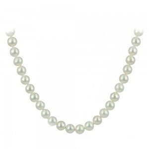 Necklace White gold K18 with pearls Code 007521