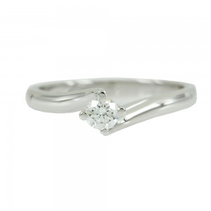 Solitaire ring White gold K18 with diamond Code 007594