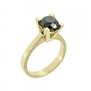 Solitaire ring Pink gold K18 with black color diamonds Code 007888