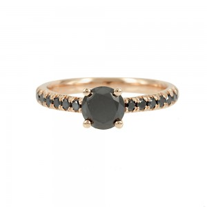 Solitaire ring Pink gold K18 with black color diamonds Code 007889