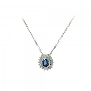 Necklece White gold K18 with diamonds and Sapphire Code 007892