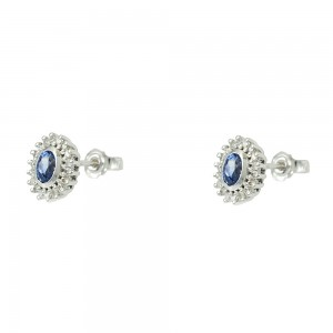 Earrings White gold K18 with Sapphires and diamonds Code 007893