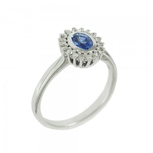 Ring White gold K18 with Sapphire and diamonds Code 007894