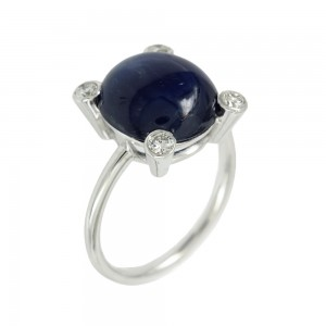 Ring White gold K18 with Sapphire and diamonds Code 007895