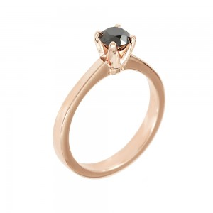 Solitaire ring Pink gold K18 with black color diamond Code 007936