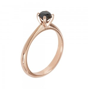 Solitaire ring Pink gold K18 with black color diamond Code 007975