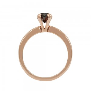 Solitaire ring Pink gold K18 with black color diamond Code 007976