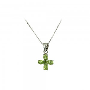 Woman's cross with chain White gold K18 with Peridot Code 007980